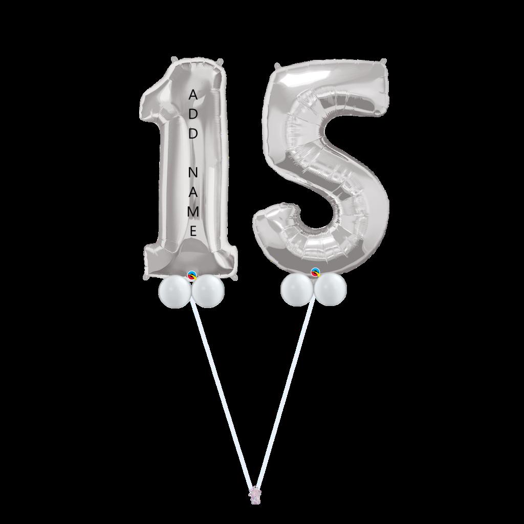 15th Birthday Balloon Bouquet Silver B15s