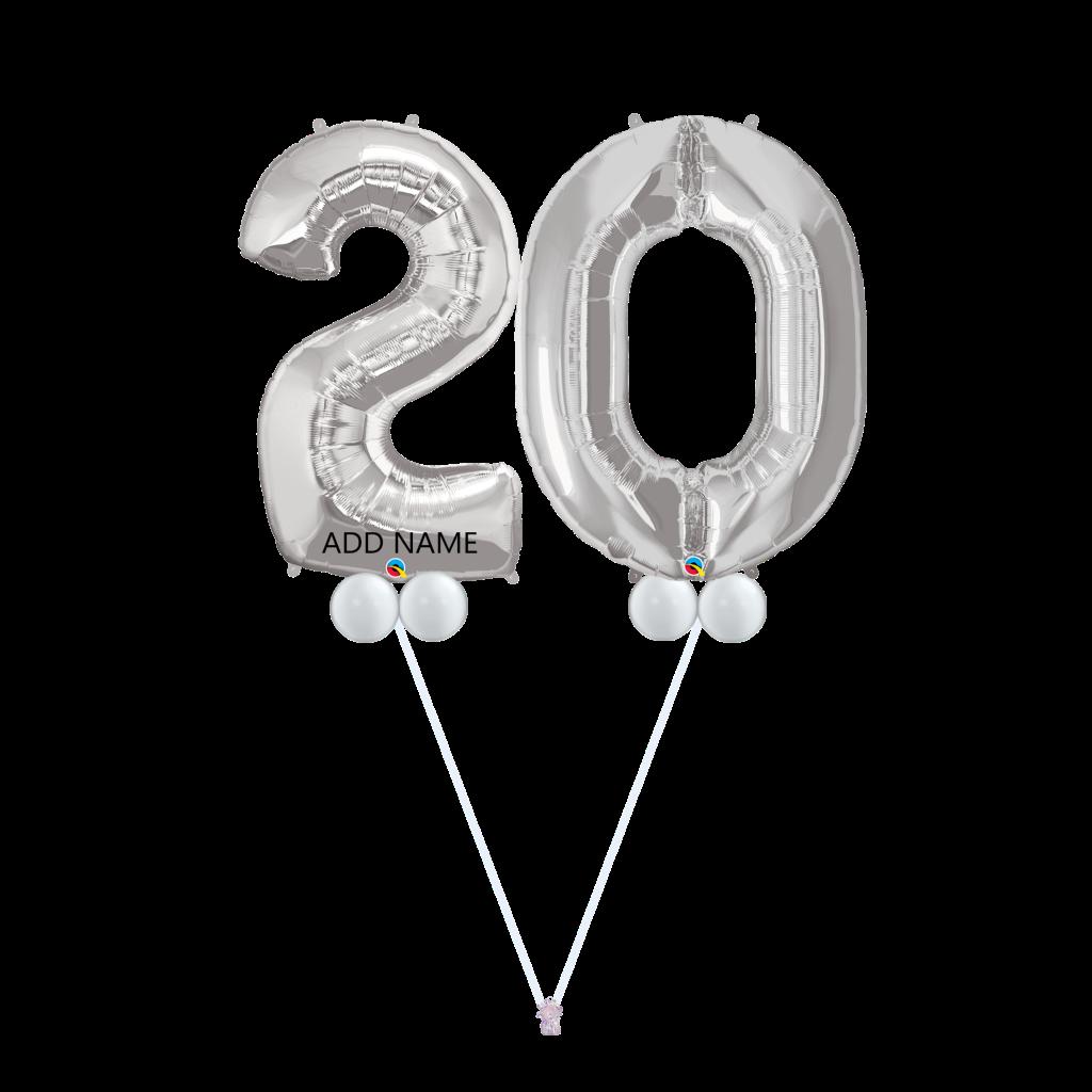 20th Birthday Balloon Bouquet Silver B20s