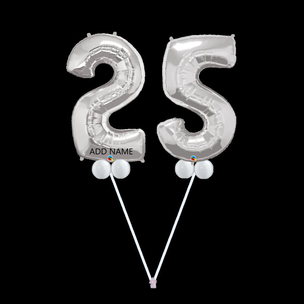 25th Birthday Balloon Bouquet Silver B25s